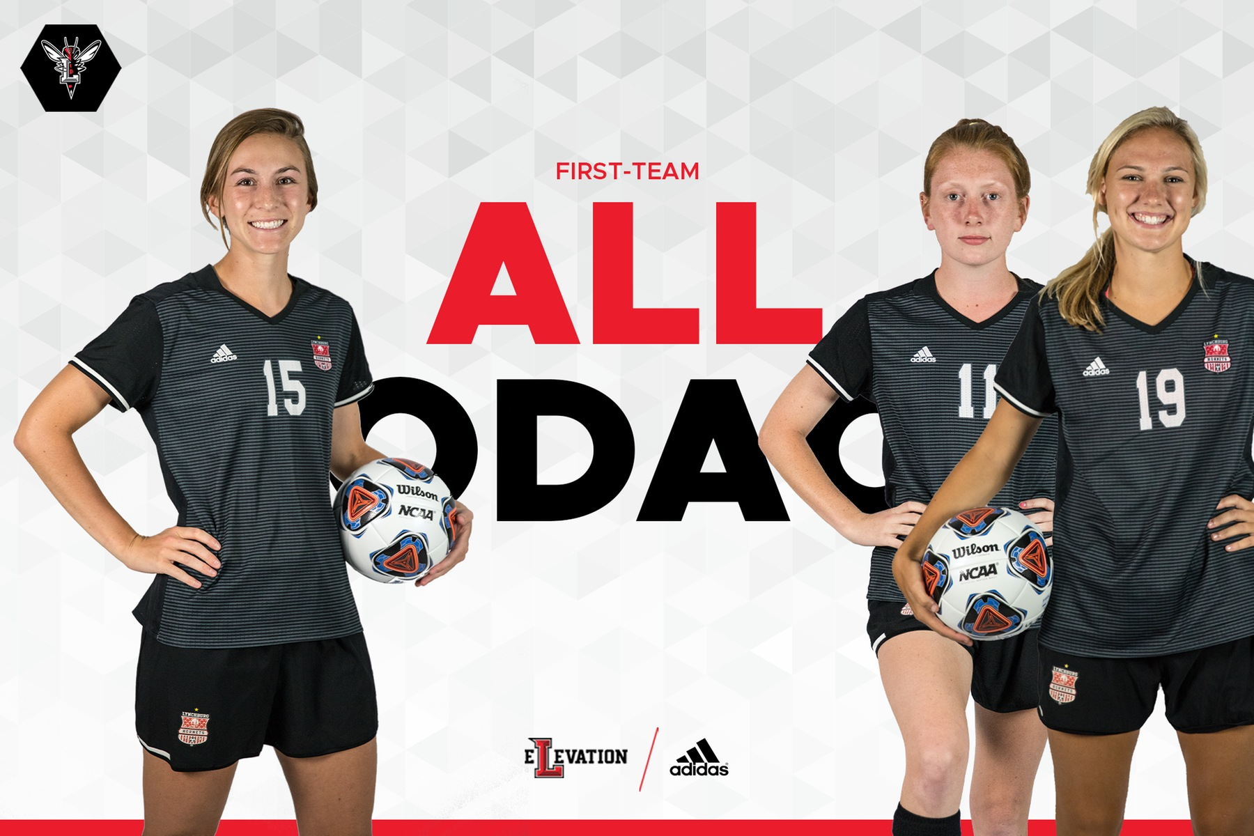 Cutout images of all-confernece women's soccer players dressed in black on white background. Text in red: First-team all-ODAC