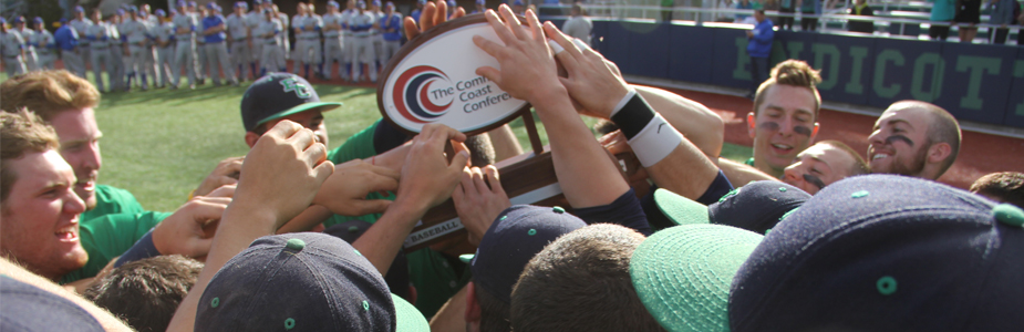 The 2014 Endicott baseball team hoisting the CCC Championship trophy