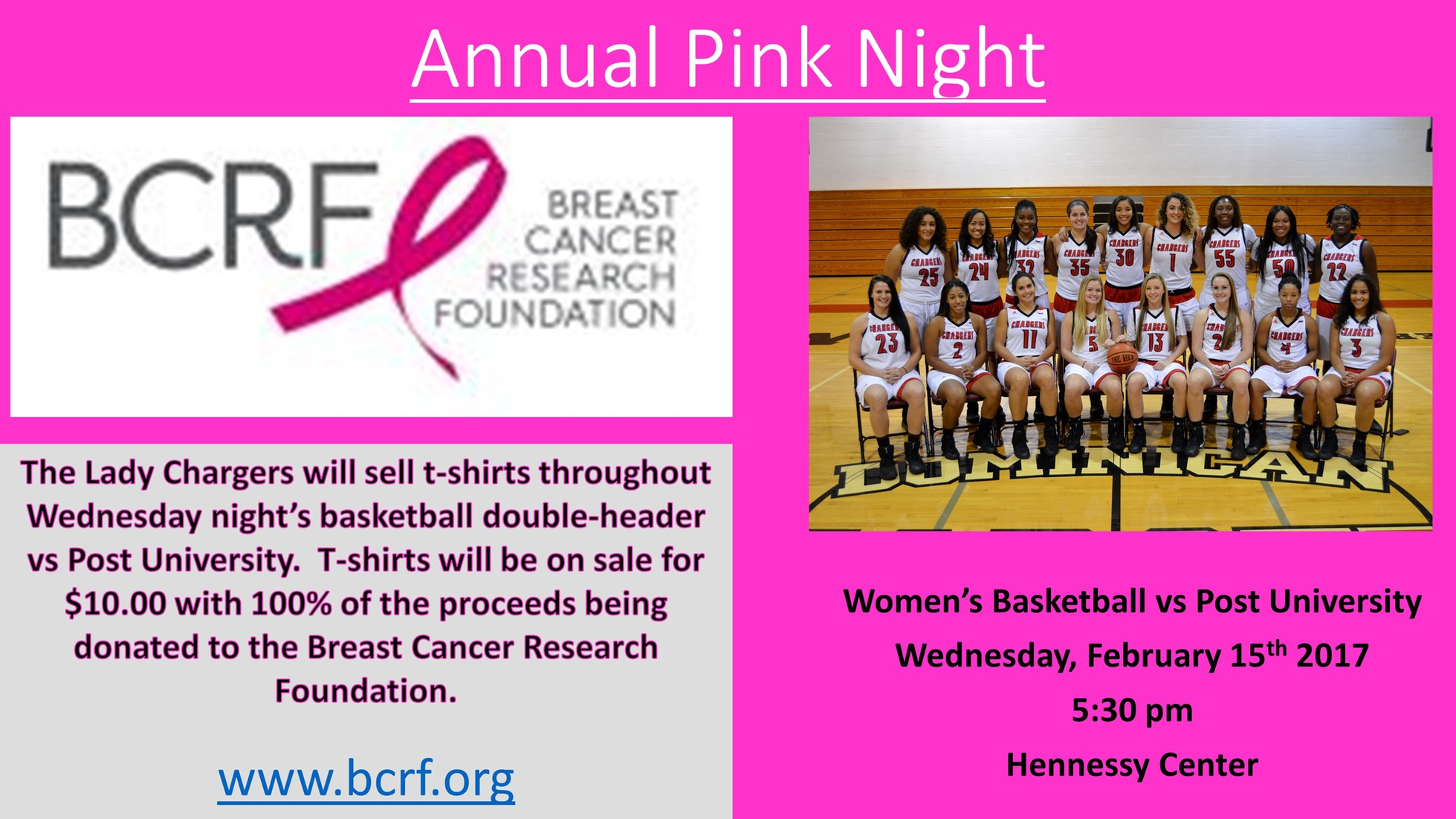 WOMEN'S BASKETBALL TO HOST PINK NIGHT