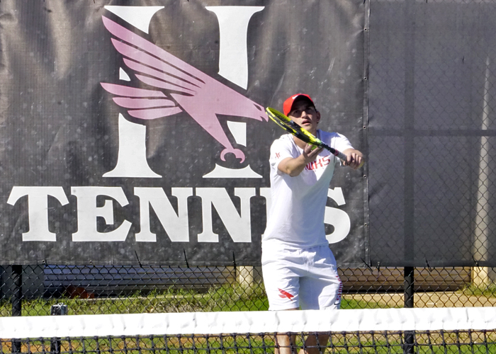 Justin McQueen won at No. 2 singles and No. 2 doubles to help lead the Hawks to a 7-2 win over Webber International  on Monday. (Photo by Chuck Tidmore)