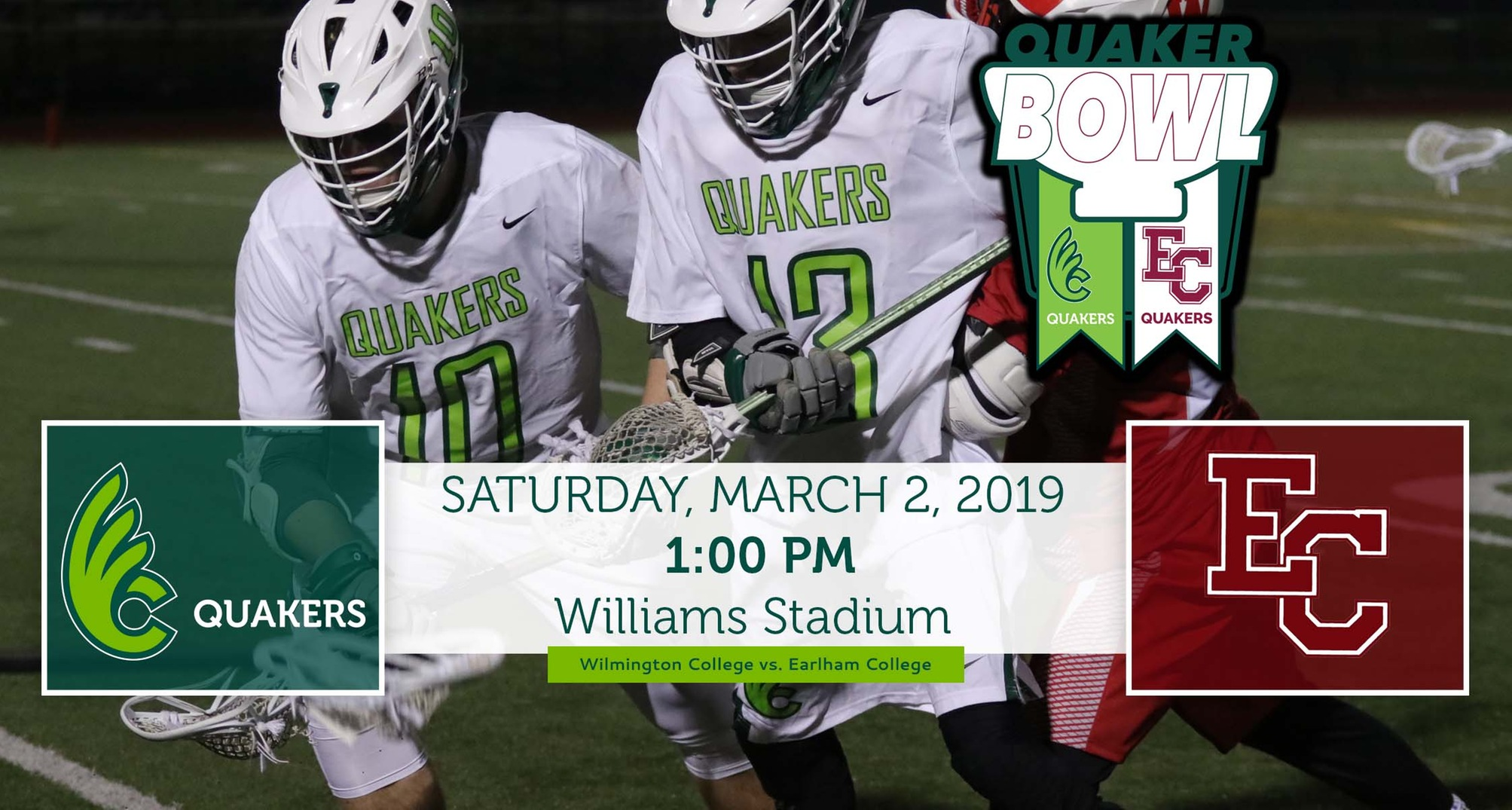 Men's Lacrosse Hosts Earlham in Quaker Bowl Rivalry Game Saturday