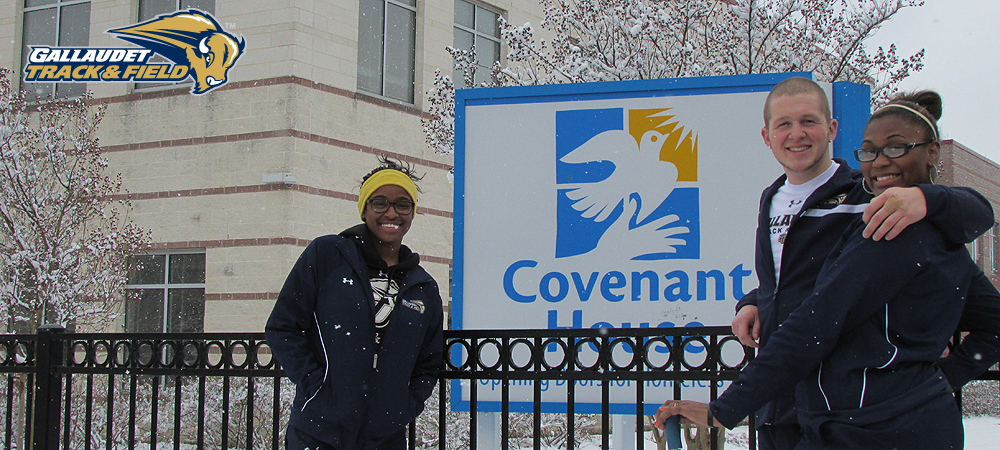 Bison track and field student-athletes return to Covenant House, donate warm clothing