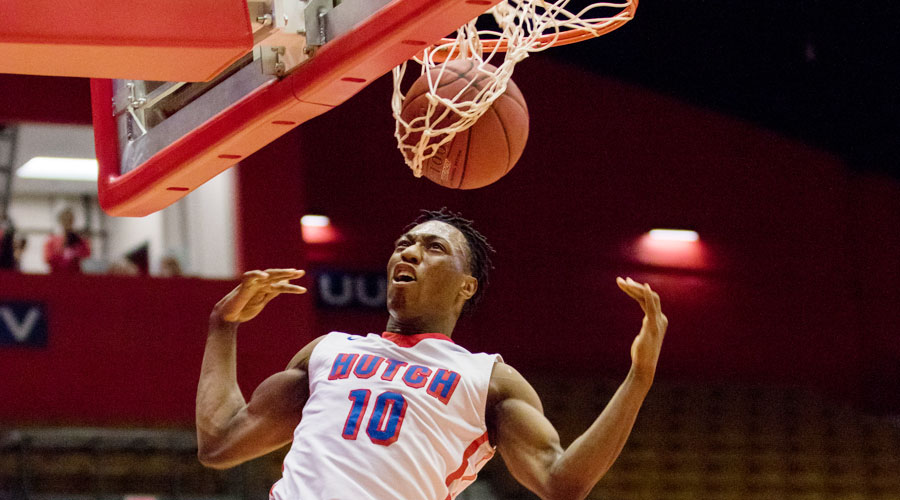 Devonte Bandoo dunks for two of his team-high 20 points in No. 14 Hutchinson's 93-84 victory over Cowley on Saturday at the Sports Arena. (Allie Schweizer/Blue Dragon Sports Information)