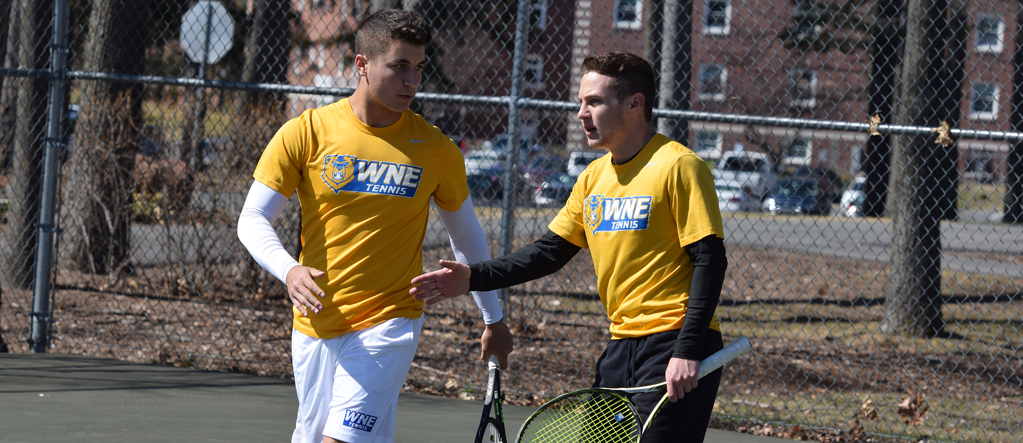 David Kalmer & Justin Kohut won their No. 1 doubles matchup, and also picked up wins in singles play as WNE defeated Roger Williams 7-2 on Saturday. (Photo by Rachael Margossian)