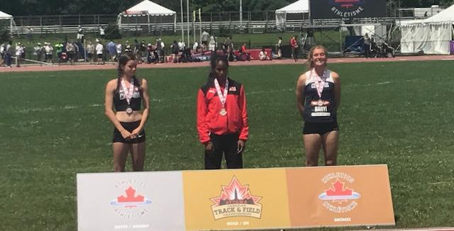Michaela Banyi (far right) came in 3rd Place in the heptathlon at the U20 Canada Cup Championships