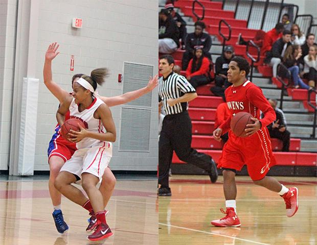 Ashley Tunstall, left, and Shaakir Lindsey, right, are key members of the Owens basketball teams. Photos by Nicholas Huenefeld/Owens Sports Information