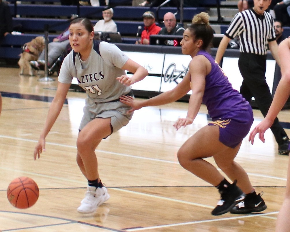 Sophomore Shauna Bribiescas (Dobson HS) fell a rebound short of a double-double as she finished with 18 points and nine rebounds as the Aztecs fell to South Plains College 68-57 in the final day of the Bruce Fleck Classic. The Aztecs are now 6-8 on the season. Photo by Stephanie Van Latum