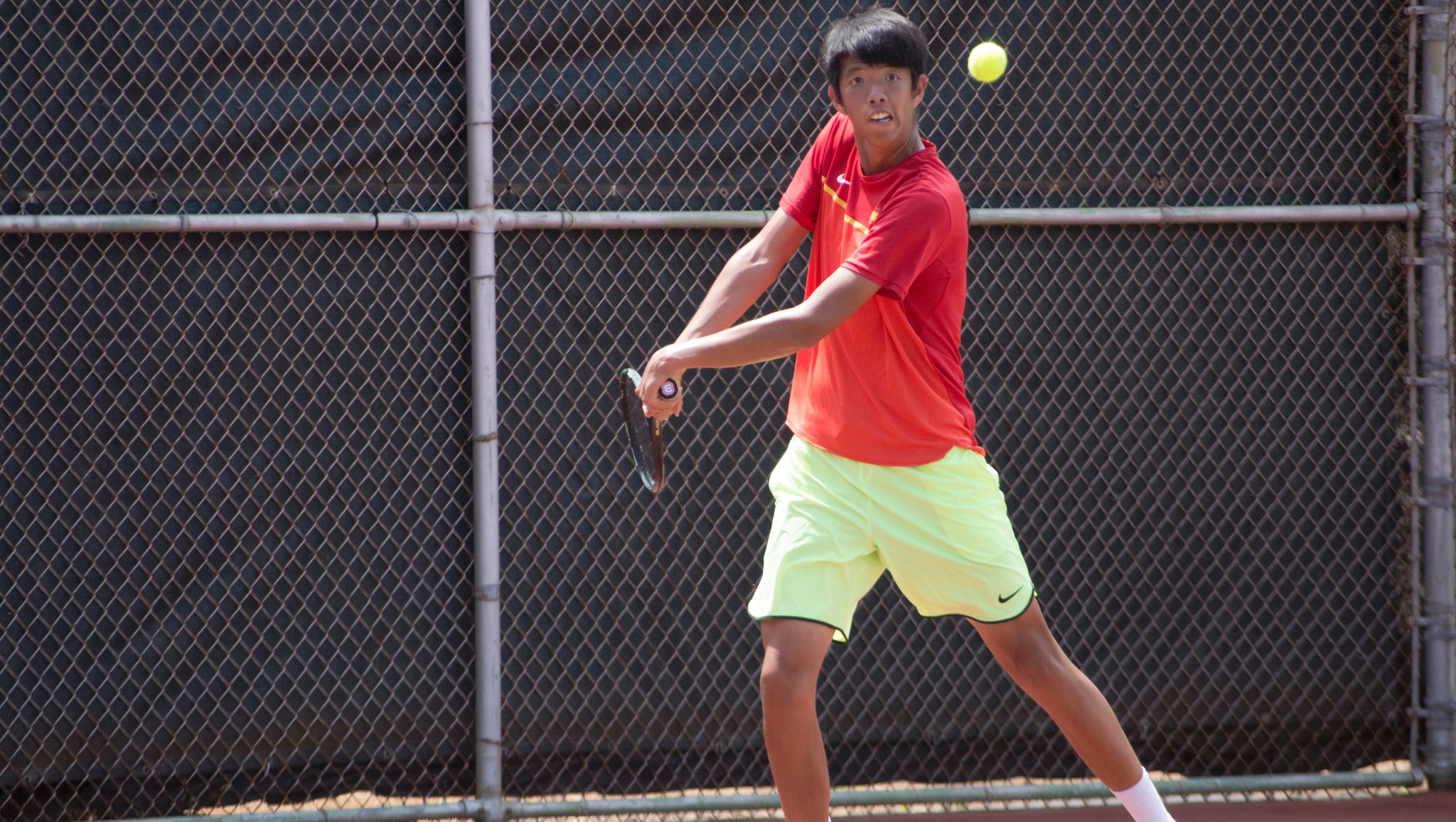Tsu-Ping Kuang readies to return a serve against Dillon Lam of Hawaii Hilo.