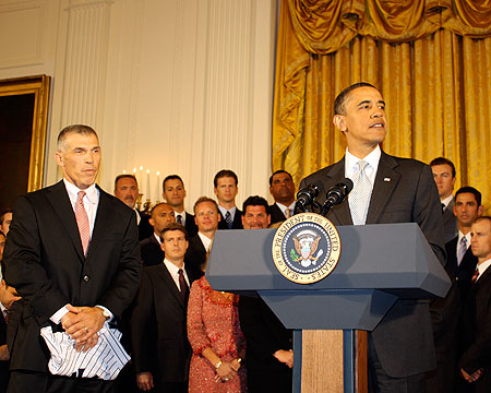 President Obama greets the crowd in the East Room.