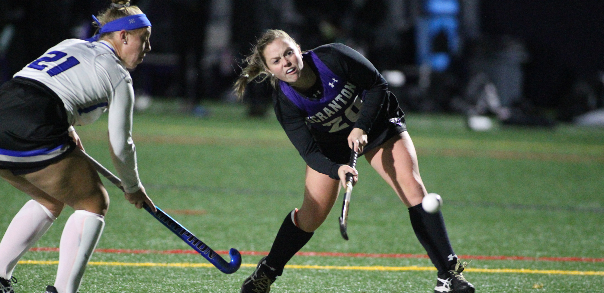 Senior Gracie McClatchy tallied a goal and an assist as The University of Scranton field hockey team advanced to the Landmark Conference Championship Game with a 3-0 win over Elizabethtown on Wednesday. © Photo by Timothy R. Dougherty / doubleeaglephotography.com