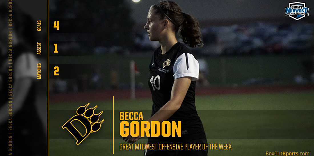 Gordon Garners Offensive Player Of The Week Honors In Great Midwest
