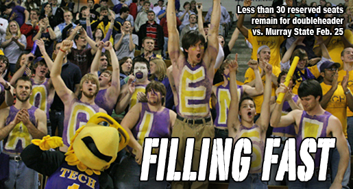 Few reserved seat tickets remain for Tech doubleheader vs. Murray State, Feb. 25