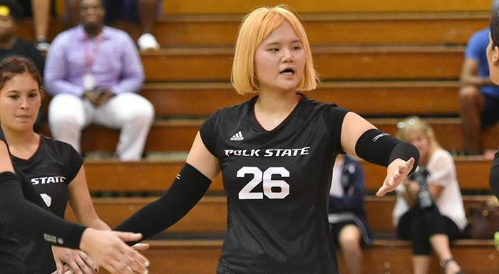 Yue Wu made 35 kills in wins over Eastern Florida and Santa Fe. (Photo by Tom Hagerty, Polk State.)