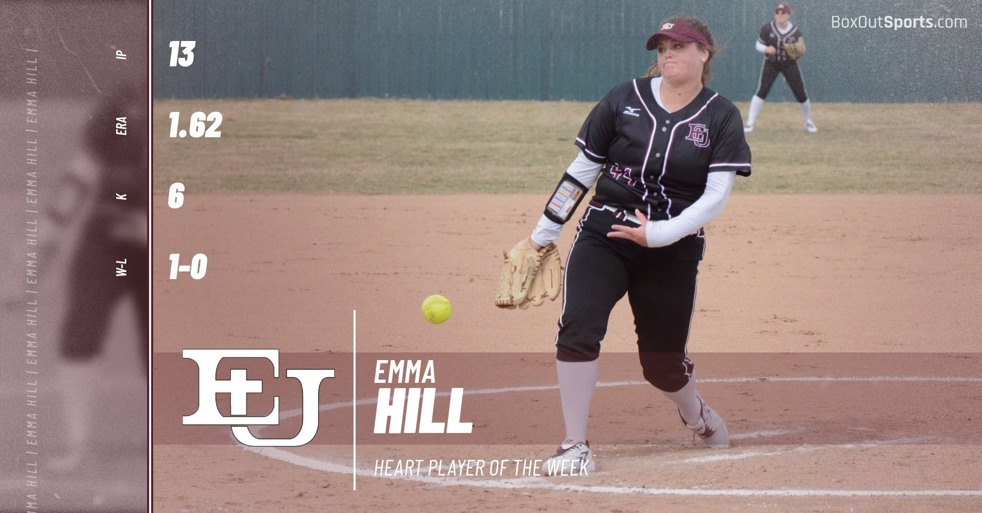 Evangel Softball Junior Emma Hill Named Heart Pitcher of the Week