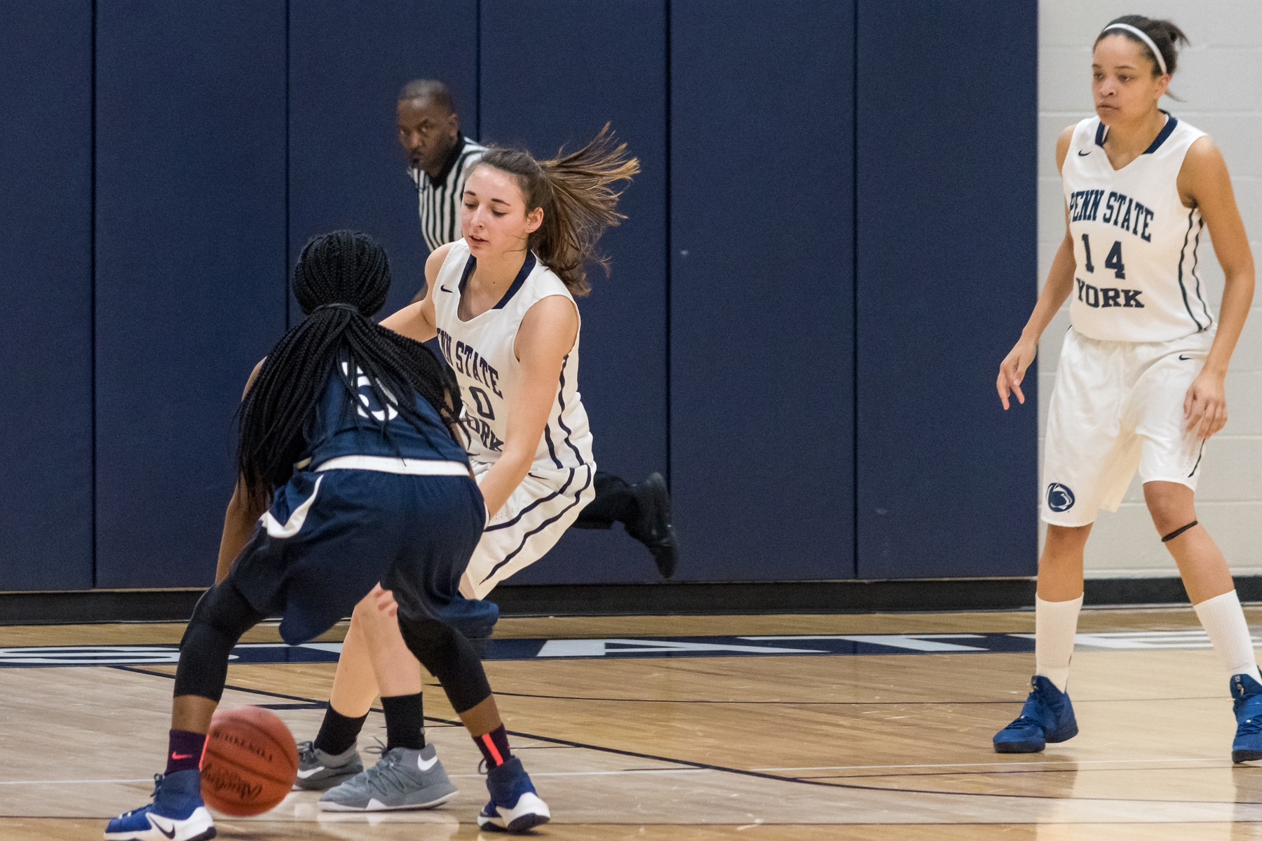 Karra Thomason defends during a home game earlier this season.