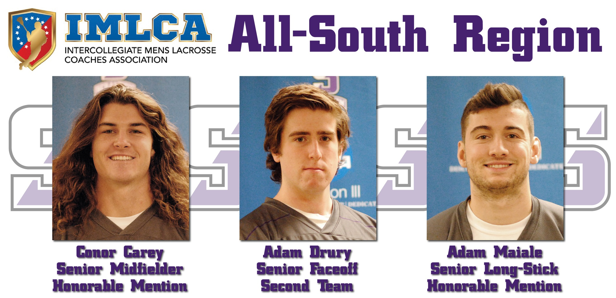 Men's Lacrosse Trio Earns All-South Region Honors From IMLCA