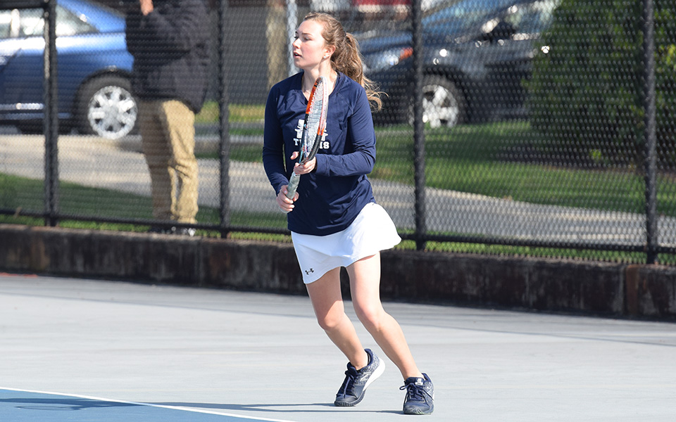 Sophomore Mary Angle gets ready to return a shot in singles action versus Neumann University at Hoffman Courts.