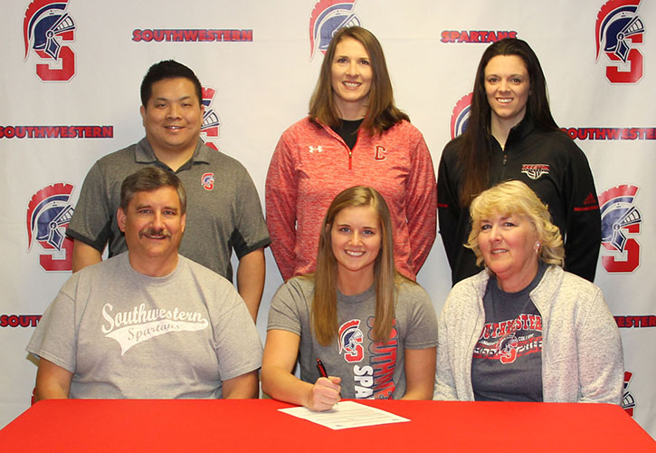 Pictured (L to R): Sitting – Steve Maitlen, Cayla's father; Cayla Maitlen; and Sue Maitlen, Cayla's mother. Standing - Casey Quiggle, Southwestern head volleyball coach; Naomi Sharp, Creston High School volleyball coach; and Mallory Peterson, Creston High School volleyball coach.