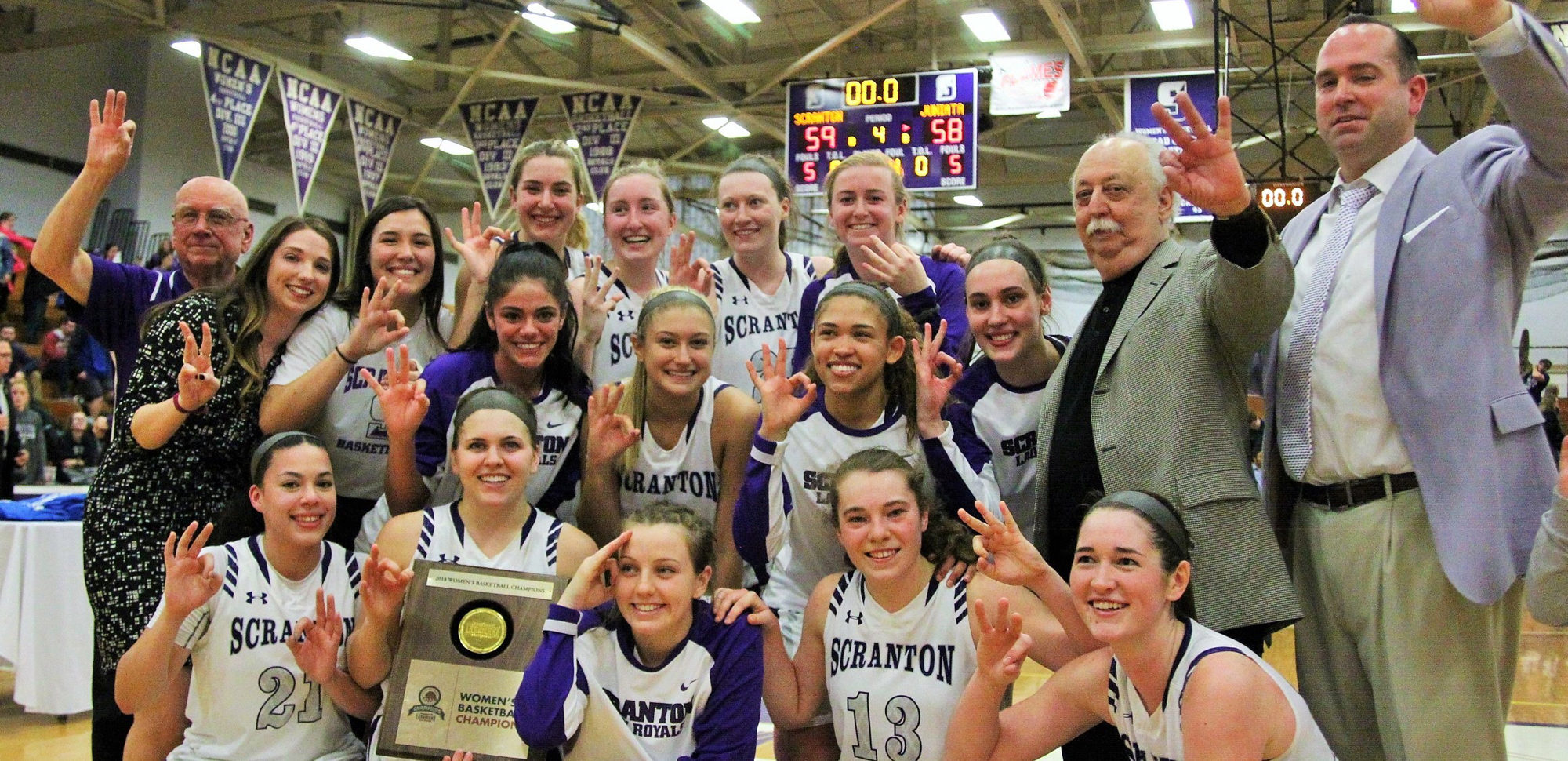 Scranton won its third straight Landmark Conference championship with a thrilling 59-58 overtime victory over Juniata on Saturday.