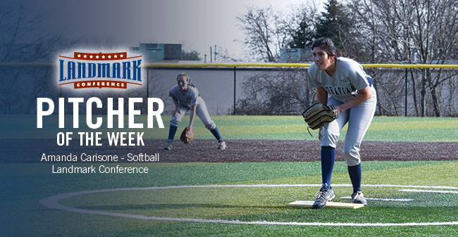 Carisone Named Landmark Conference Softball Pitcher of the Week