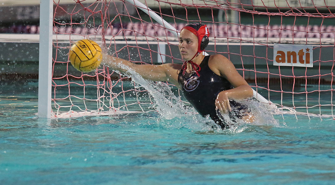 Kerry Goodspeed saves a shot.
