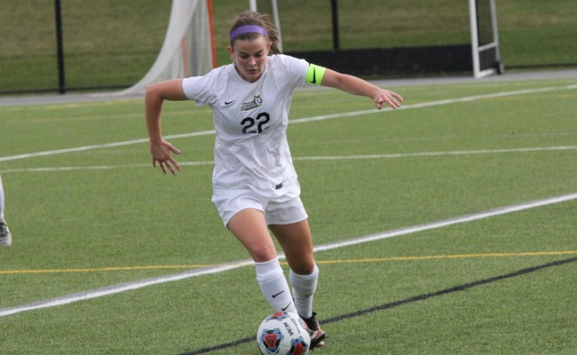 Emily McGuigan (22) scored two goals and added an assist for Keuka College -- Photo by Ed Webber