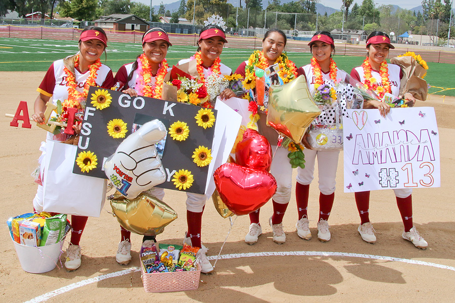 Lancers sophomores (from left to right)--Alise Allen, Kaylee Medrano, Leilani Montanez, Nathalia Velasquez, Britney Lopez, and Amanda Flores on Sophomore Day on Thursday, photo by Richard Quinton.