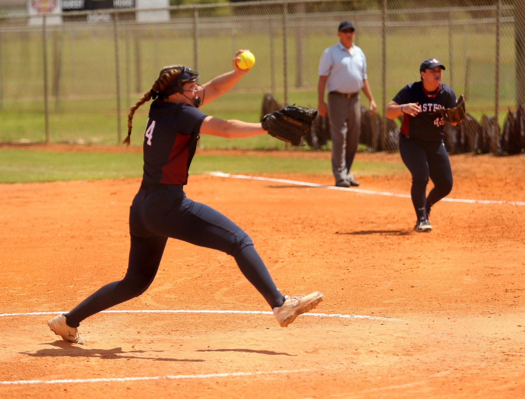 In her first pitching appearance in nearly a month, Morgan Sanson (above) gave the Warriors a chance to win by allowing only one run on one hit over the final  4 2/3 innings. She also drove in a run and scored in the Warriors' three-run seventh inning.