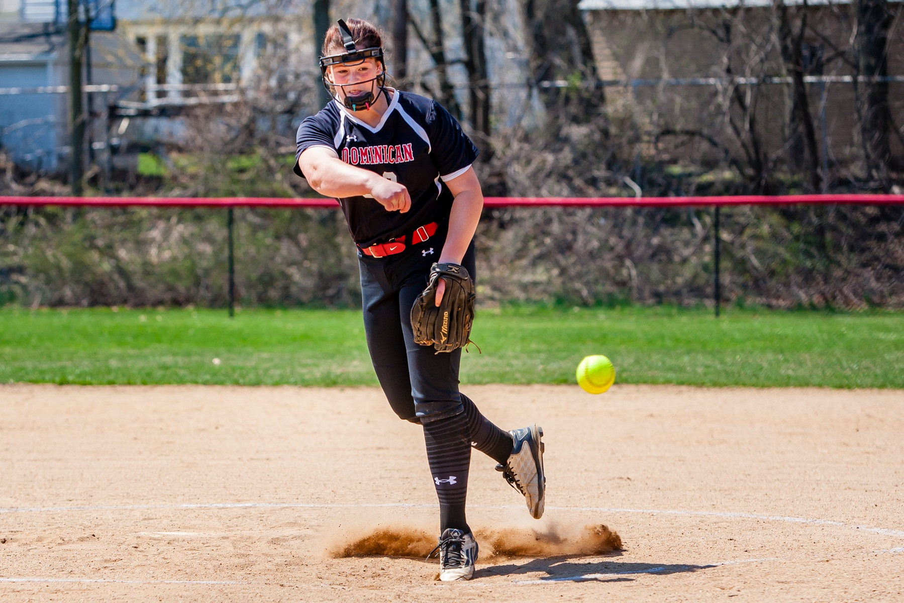 The Lady Charger softball team split a CACC double-header with the visiting Lions of Georgian Court University.