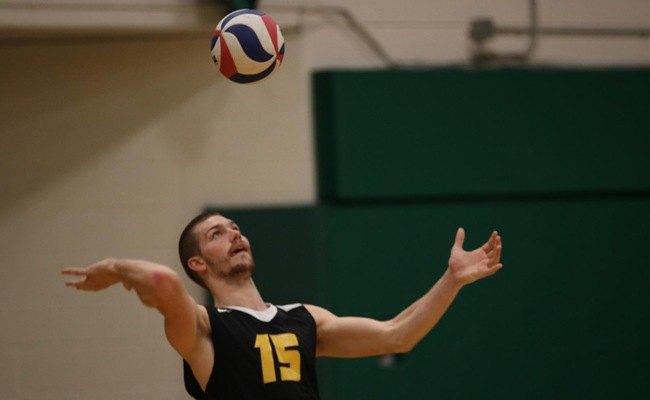 Connor Gail (15) had a team-high 14 kills for Keuka College on Friday -- Photo by Abdul Alhumayni