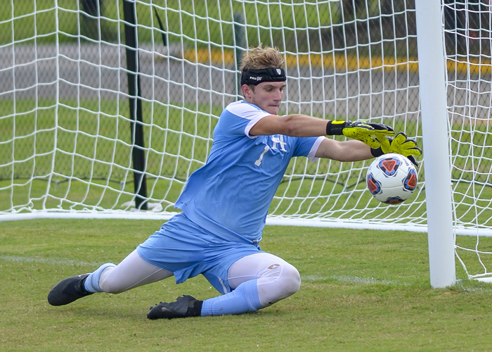 Zak Heino had 10 saves and allowed two goals in Saturday's loss to Piedmont. (Photo by Julie Bennett/juliebennettphoto.com)