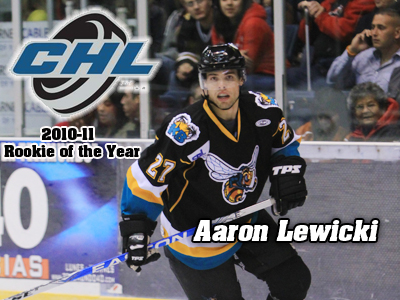 Former Bulldog Aaron Lewicki chosen as the Central Hockey League's Rookie of the Year for the 2010-11 season. (Photo by Dutch Cowgill)