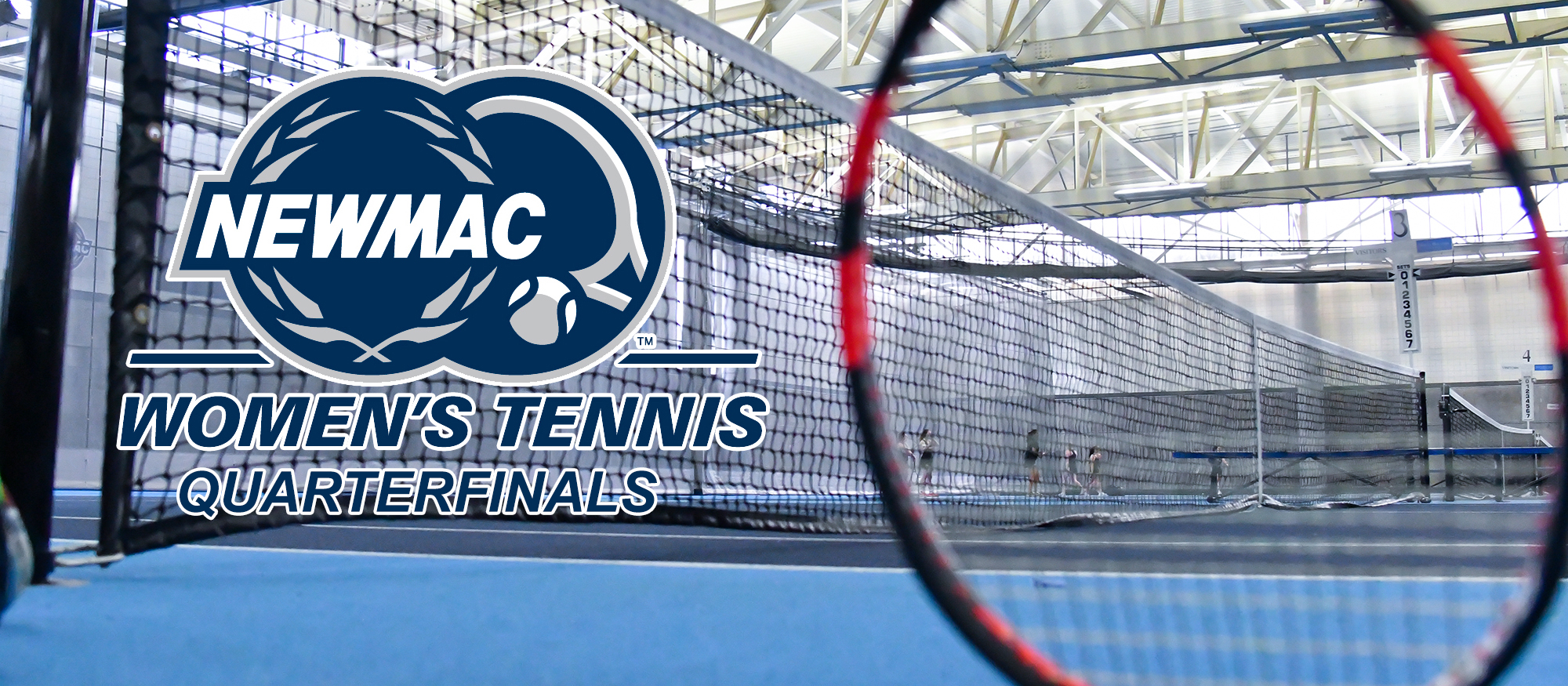 Image of a tennis net, court and racquet to promote the 2019 NEWMAC Tennis Quarterfinal match.