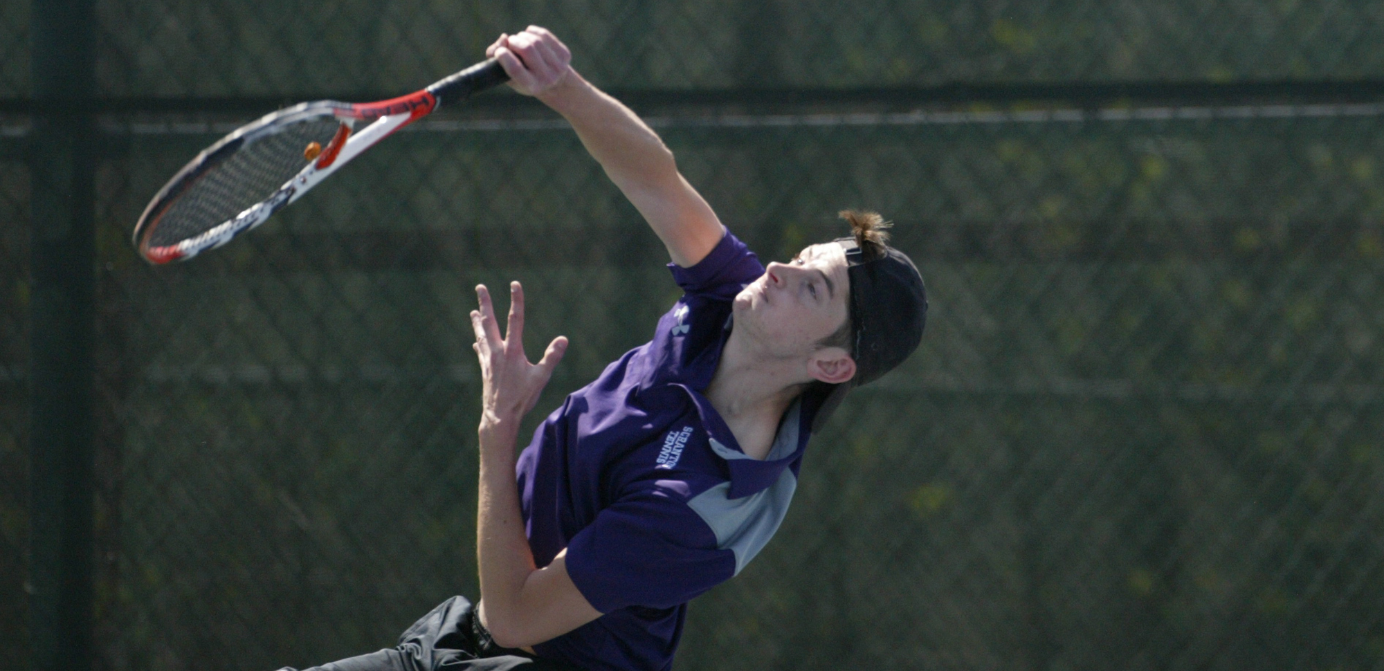 Senior Brian Harkins was one of four Royals with wins in both singles and doubles on Saturday at Messiah.