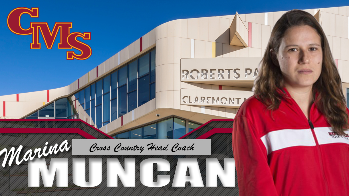 Head shot of Marina Muncan superimposed in front of Roberts Pavilion. Words read: Marina Muncan, Cross Country Head Coach