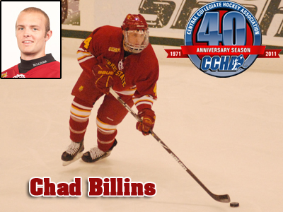 Chad Billins Claims CCHA Award For Second Time This Season