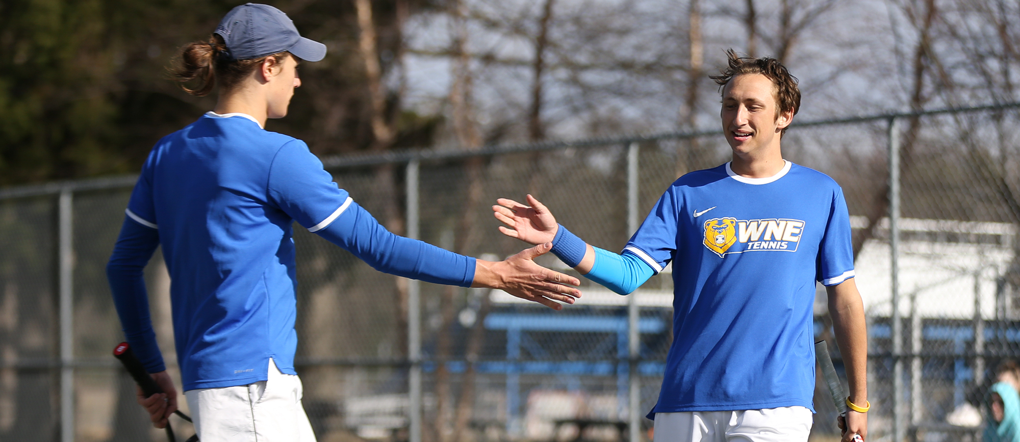 Hippolyte Bonnet & Luke Surawski picked up wins in both singles and doubles play as the Golden Bears defeated Roger Williams on Wednesday to advance to the CCC Championship match. (Photo by Chris Marion)