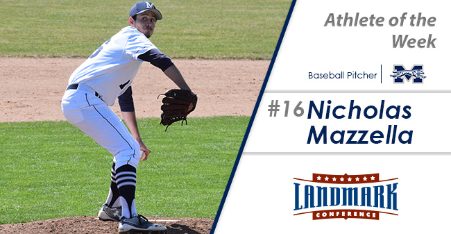 Nicholas Mazzella '18 selected as Landmark Conference Baseball Pitcher of the Week.