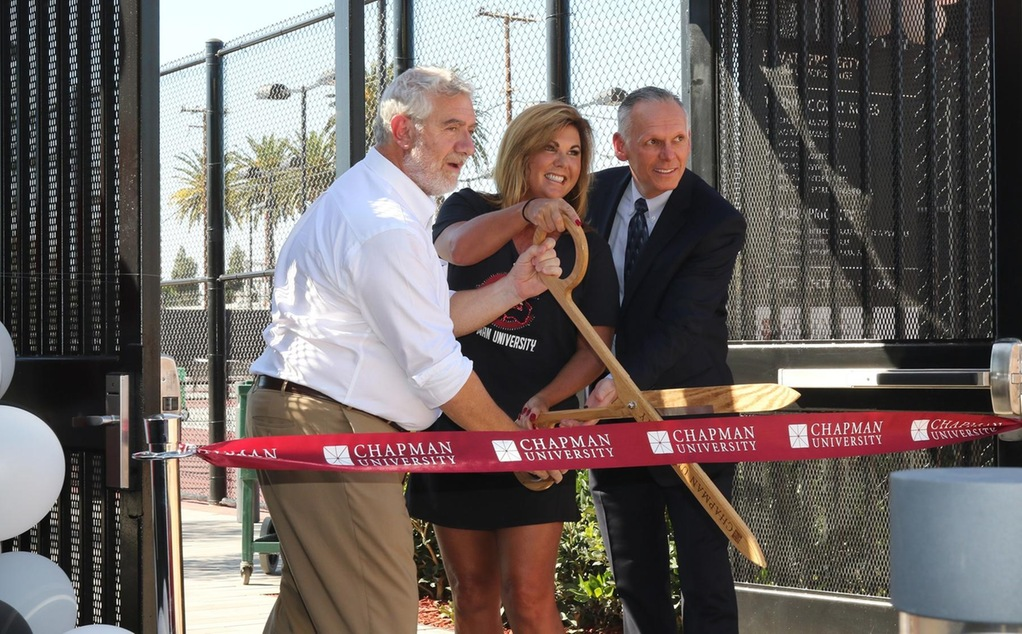 (L-R) President Daniele Struppa, Erin Lastinger, and Director of Athletics Terry Boesel