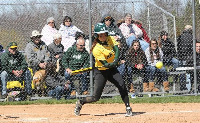Junior Mackenzie Cole was 2-for-4 with a pair of doubles and an RBI as the Keuka College softball team advanced in the NEAC tournament with a 5-3 win over Wilson College Saturday (photo courtesy of Ed Webber).