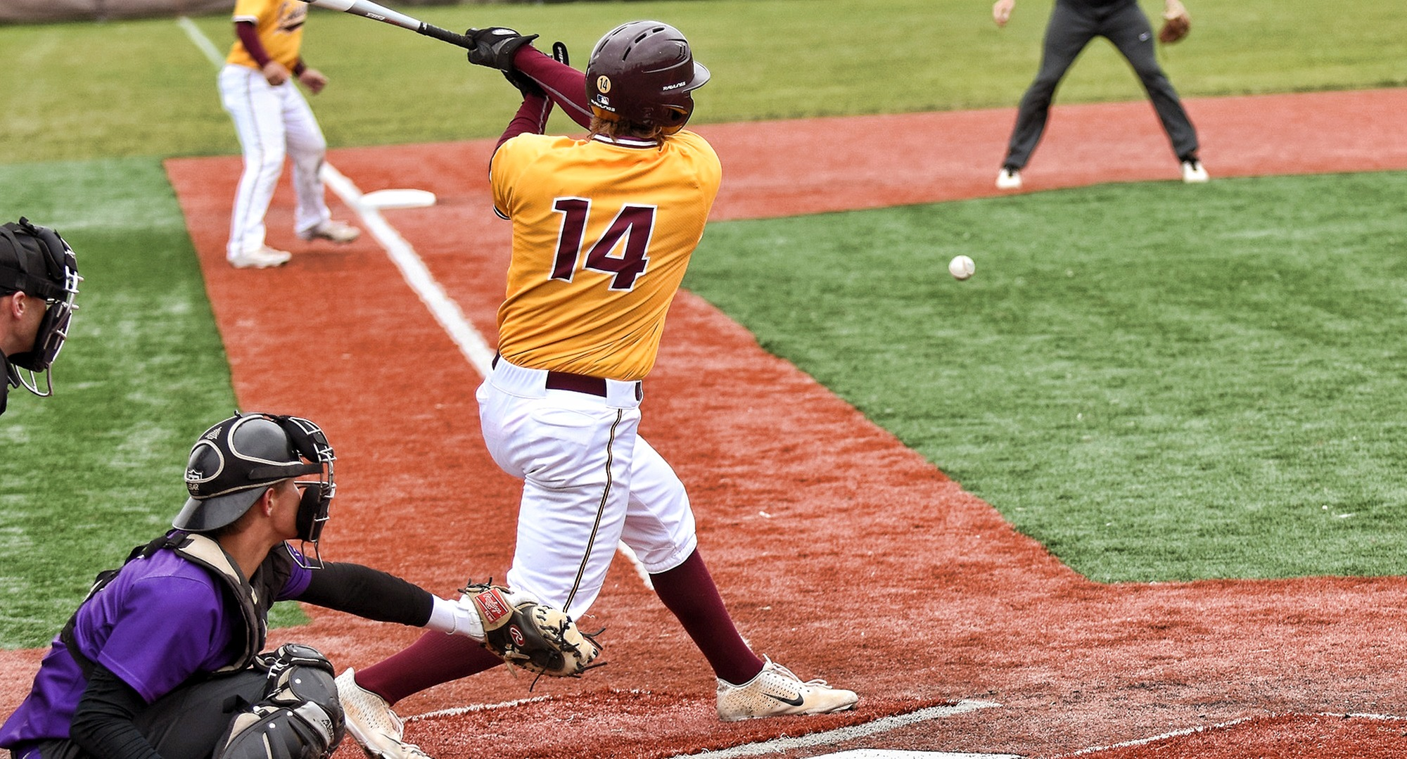 Senior Austin Ver Steeg was the only Cobber player to have a hit in both games of the team's doubleheader with Dickinson.