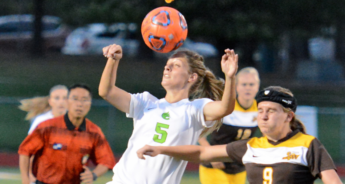 Senior Ashley Lovett battles for the ball in Wilmington's 2-1 win over Baldwin Wallace. (Wilmington photo/Randy Sarvis)
