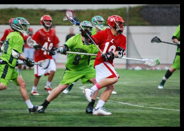 Matt Baker playing lacrosse