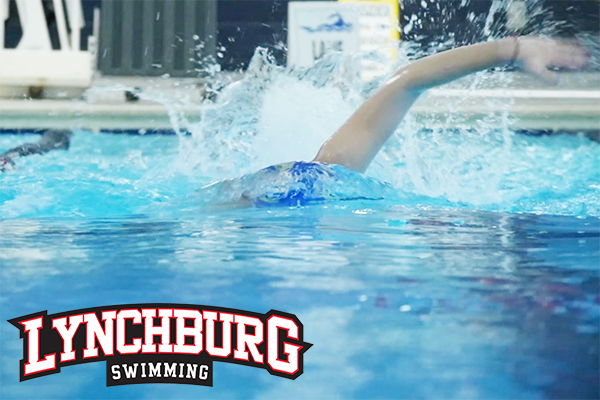Swimmer in a pool doing freestyle. Logo: Lynchburg Swimming.