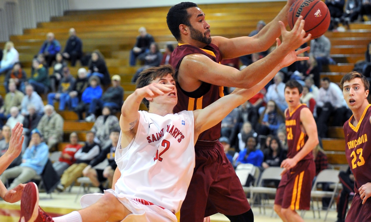 Senior Isaac Anderson scored a career-high 16 points and grabbed a career-high eight rebounds in the Cobbers' 81-65 win at St. Mary's (Photo courtesy of St. Mary's Sports Information).