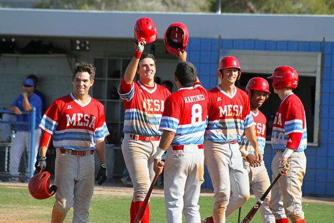 Mesa is all smiles after Kody Funderburks grand slam at South Mountain Wednesday afternoon. (photo by Aaron Webster)