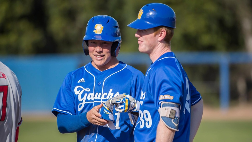 Eric Yang (left) hit his first career homerun to help UCSB past Pepperdine 3-2 on Friday afternoon. (Photo by Tony Mastres)