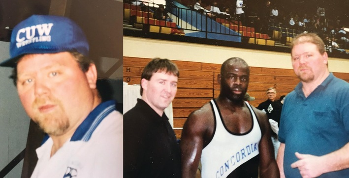 Photo on the right: former head coach/current assistant Bret Corner, Edwin Allen (CUW's first wrestling All-American in 1997) and Mike Fischer
