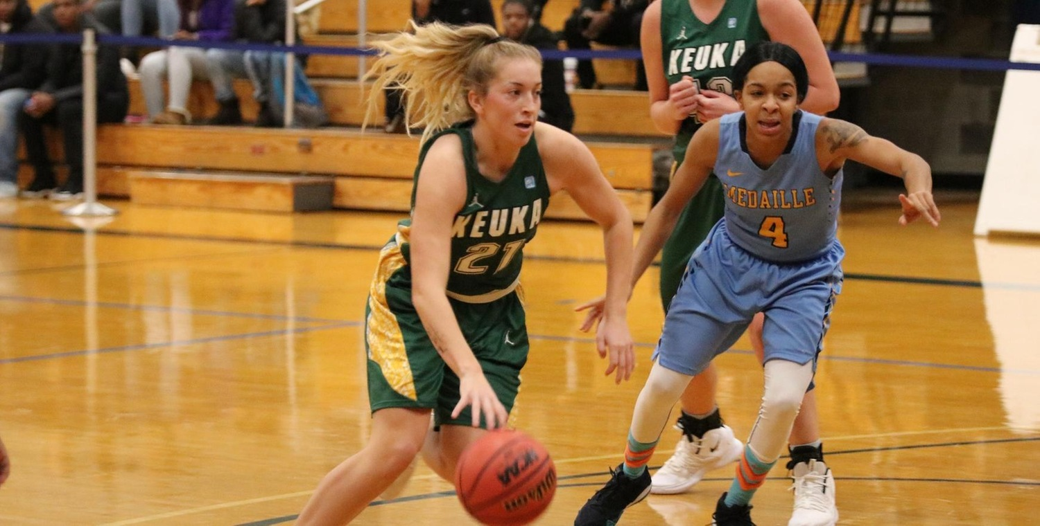 Sam Laranjo (21) led Keuka College with 13 points and nine assists on Thursday