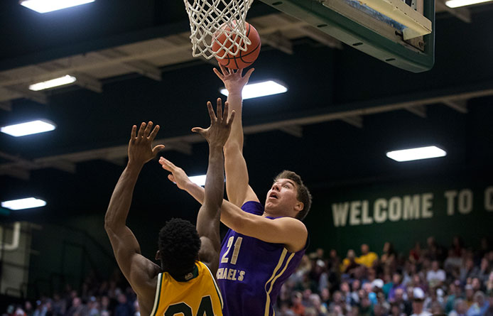 Purple Knight Reserves Key Comeback Before Men's Basketball Falls to New Haven, 72-66